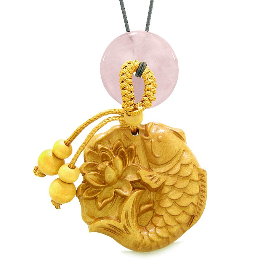 Fortune Fish Blooming Lotus Car Charm Home Decor Rose Quartz Donut Protection Powers Magic Amulet