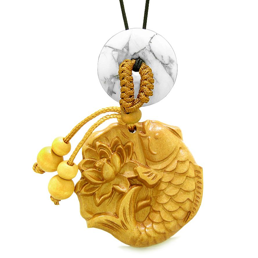 Fortune Fish Blooming Lotus Car Charm Home Decor White Howlite Donut Protection Powers Magic Amulet