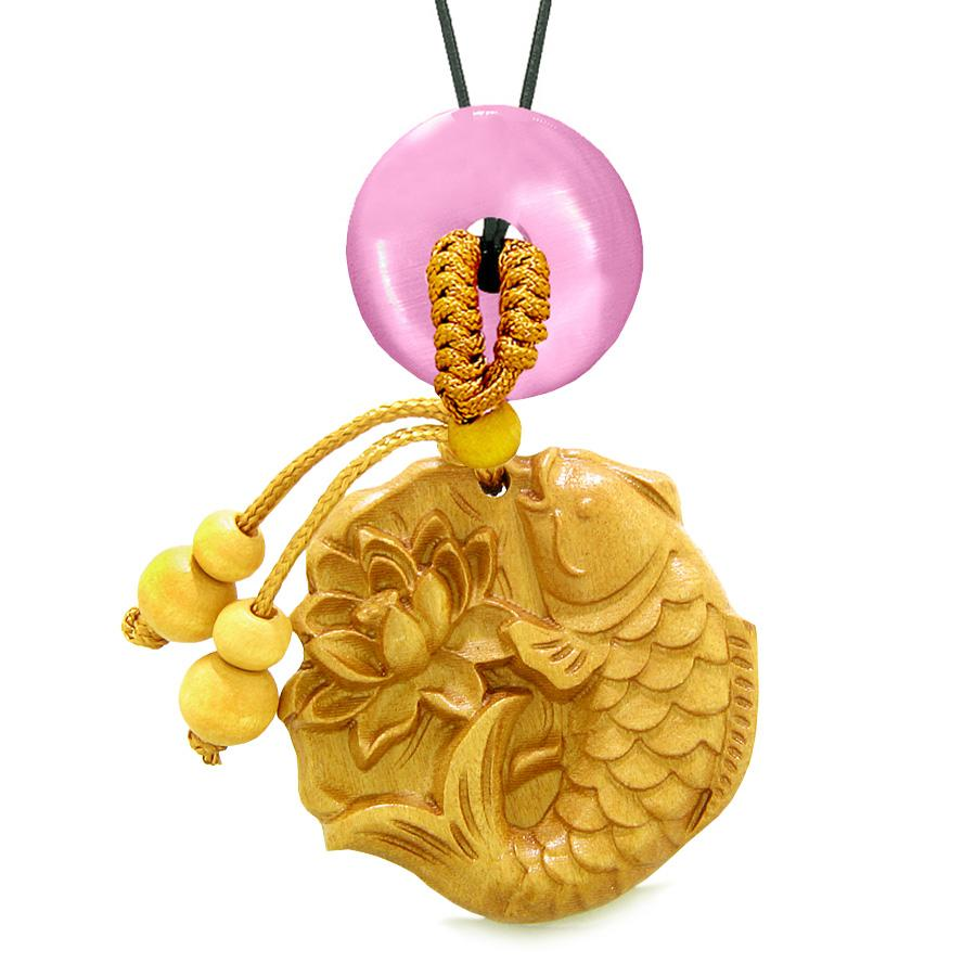 Fortune Fish Blooming Lotus Car Charm Home Decor Pink Simulated Cats Eye Donut Protection Amulet