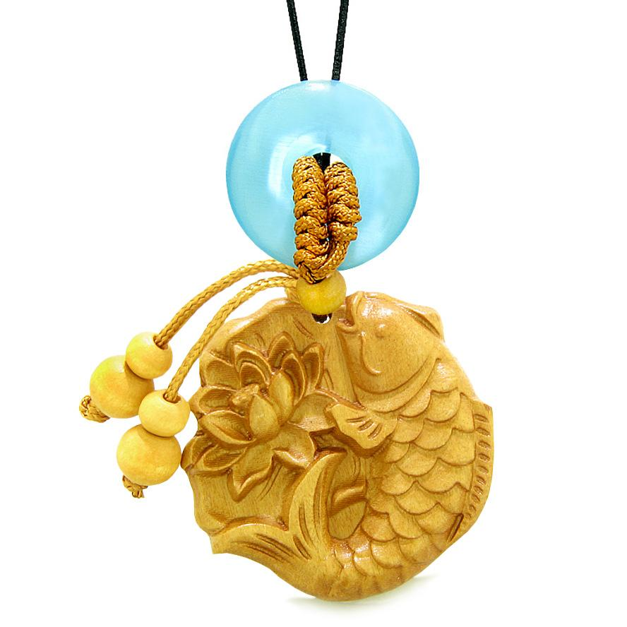 Fortune Fish Blooming Lotus Car Charm Home Decor Blue Simulated Cats Eye Donut Protection Amulet
