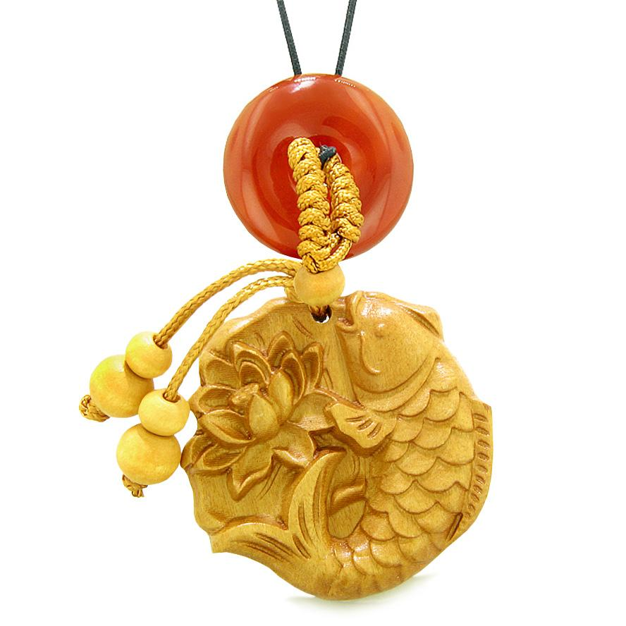 Fortune Fish Blooming Lotus Car Charm or Home Decor Carnelian Donut Protection Powers Magic Amulet
