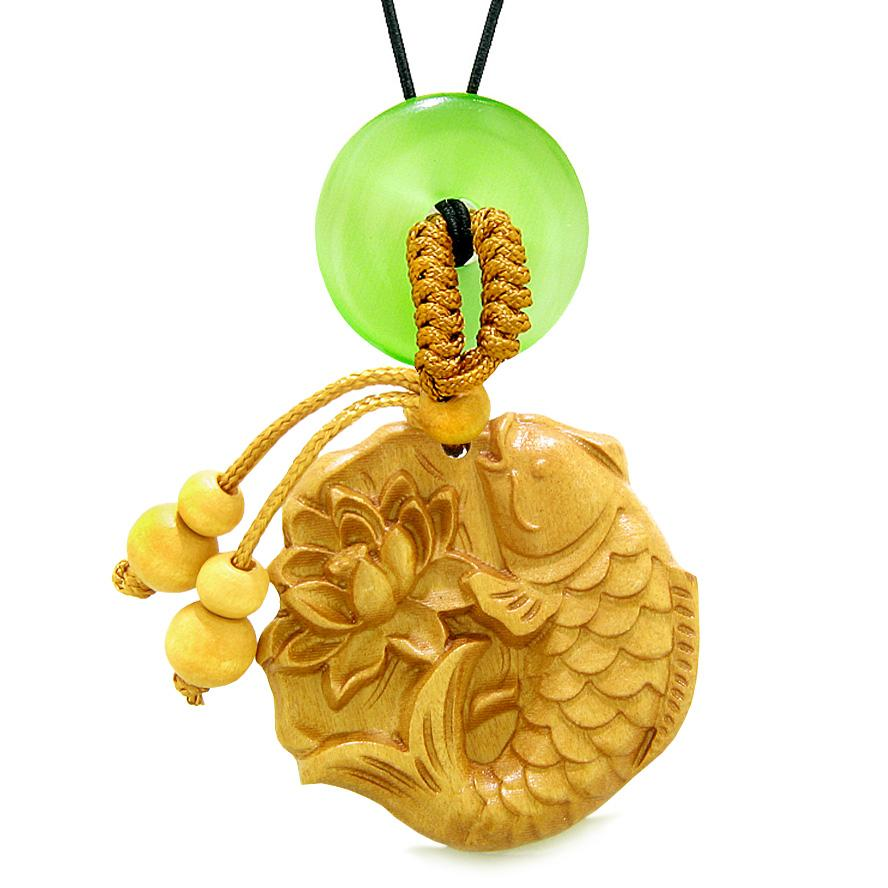 Fortune Fish Blooming Lotus Car Charm Home Decor Green Simulated Cats Eye Donut Protect Amulet
