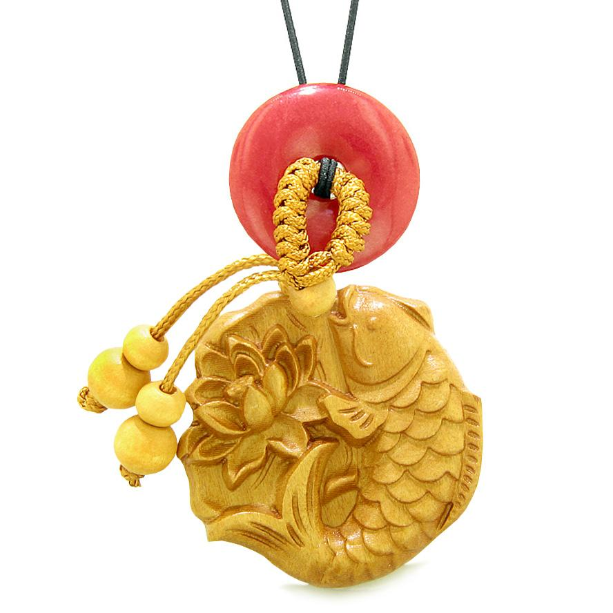 Fortune Fish Blooming Lotus Car Charm or Home Decor Red Quartz Donut Protection Powers Magic Amulet