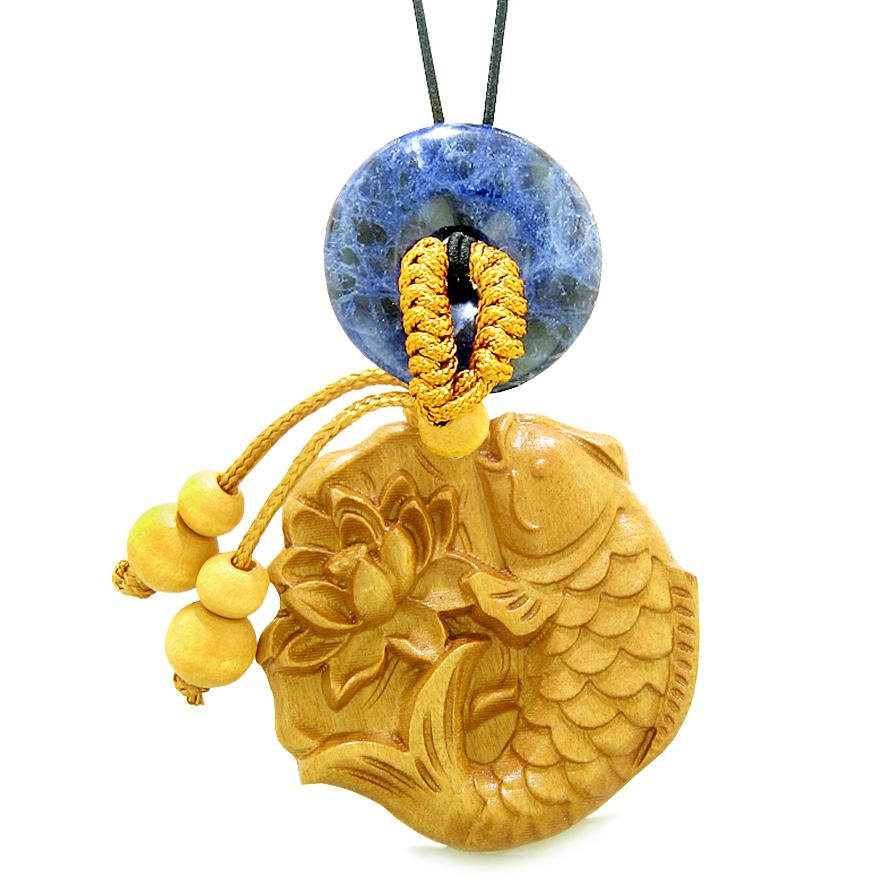 Fortune Fish Blooming Lotus Car Charm or Home Decor Sodalite Donut Protection Powers Magic Amulet