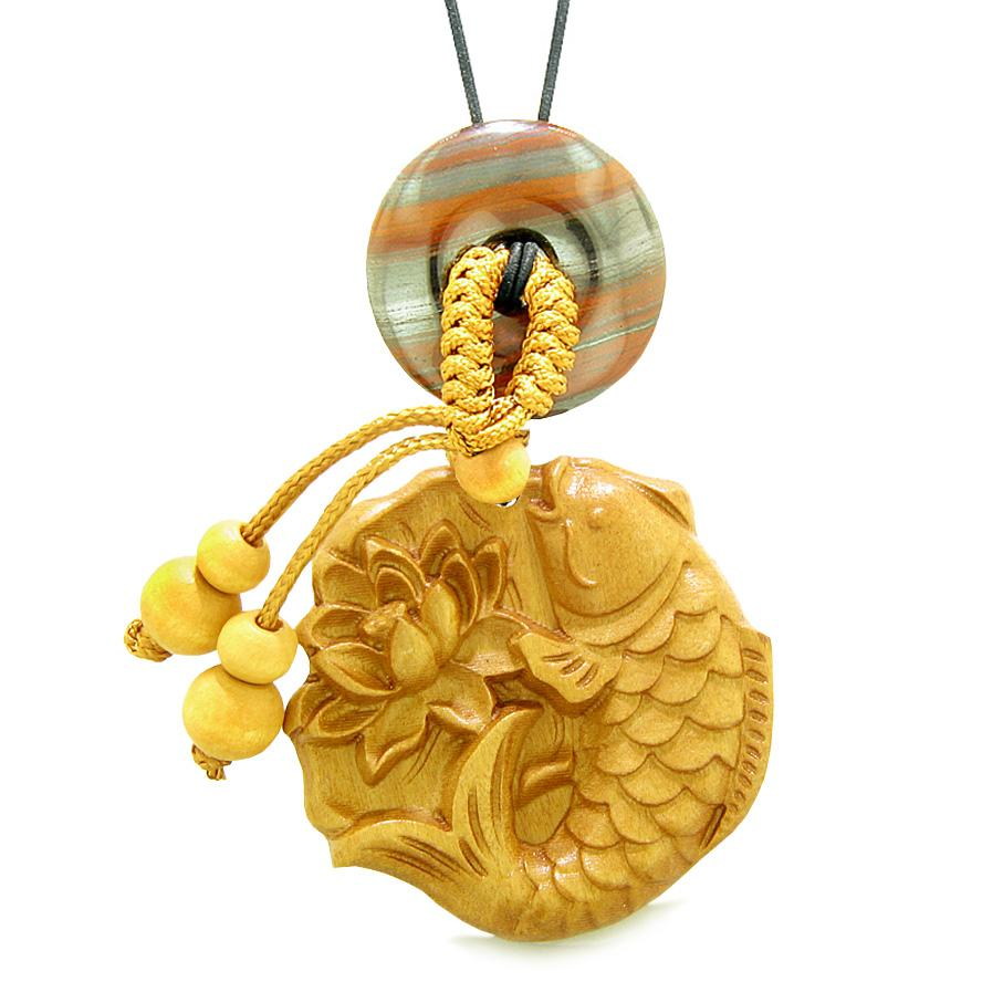 Fortune Fish Blooming Lotus Car Charm Home Decor Dragon Eye Iron Donut Protection Powers Amulet