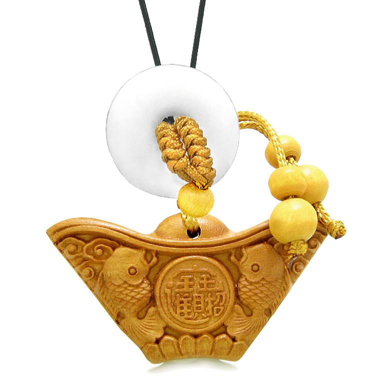 Double Lucky Fish Wulu Coin Car Charm Home Decor White Quartz Donut Protection Powers Magic Amulet