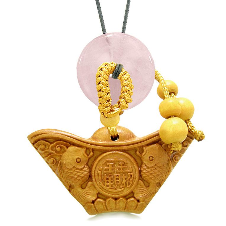Double Lucky Fish Wulu Coin Car Charm Home Decor Rose Quartz Donut Protection Powers Magic Amulet