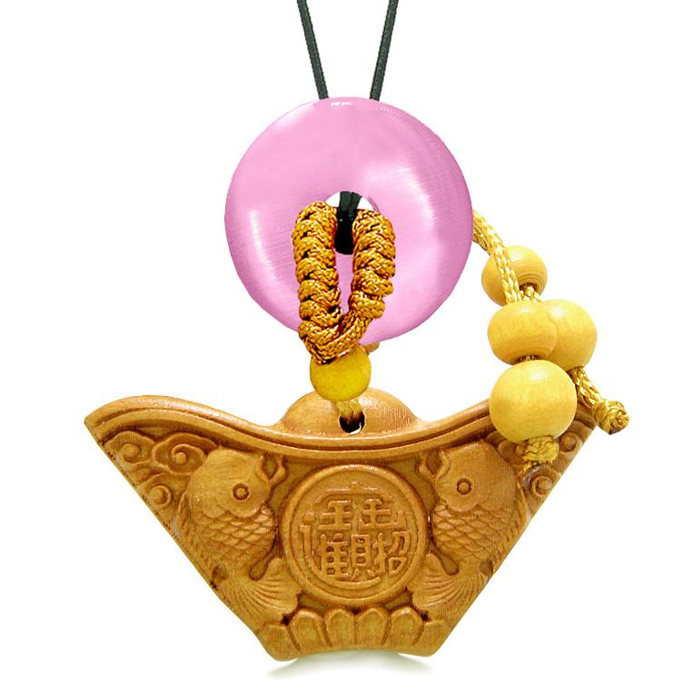 Double Lucky Fish Wulu Coin Car Charm Home Decor Pink Simulated Cats Eye Donut Protection Amulet