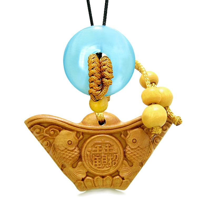 Double Lucky Fish Wulu Coin Car Charm Home Decor Blue Simulated Cats Eye Donut Protection Amulet
