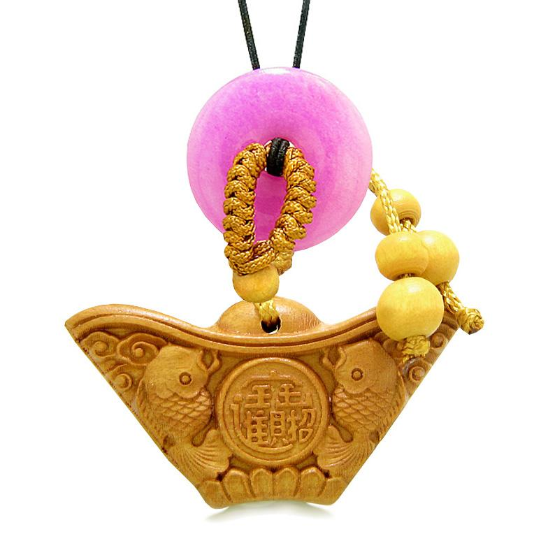 Double Lucky Fish Wulu Coin Car Charm Home Decor Hot Pink Quartz Donut Protection Powers Amulet