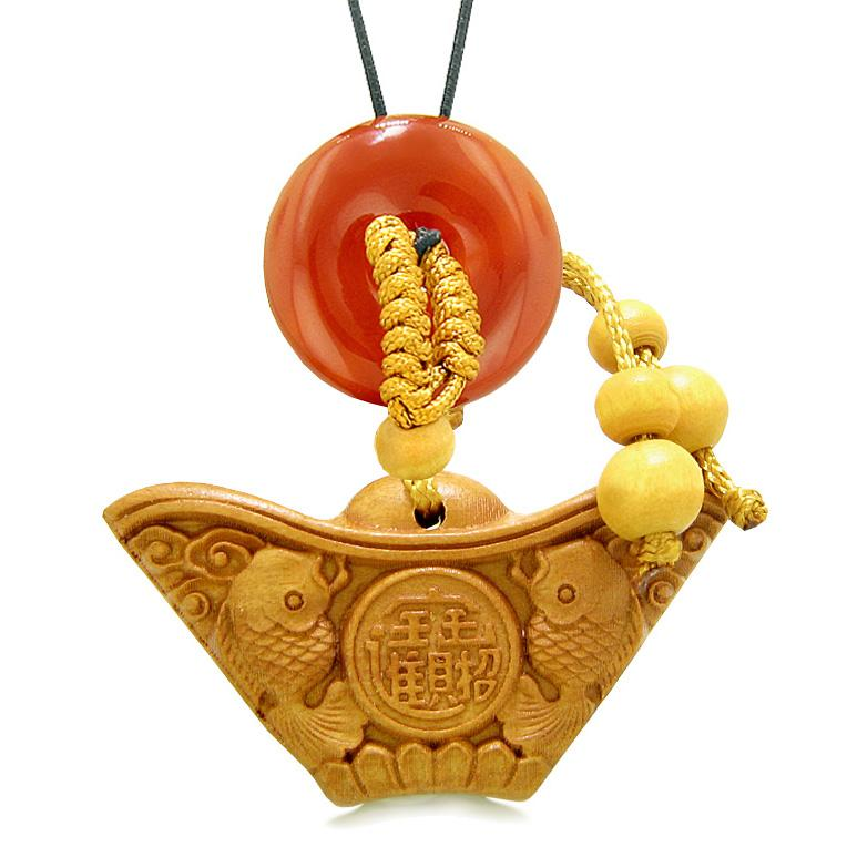 Double Lucky Fish Wulu Coin Car Charm or Home Decor Carnelian Donut Protection Powers Magic Amulet