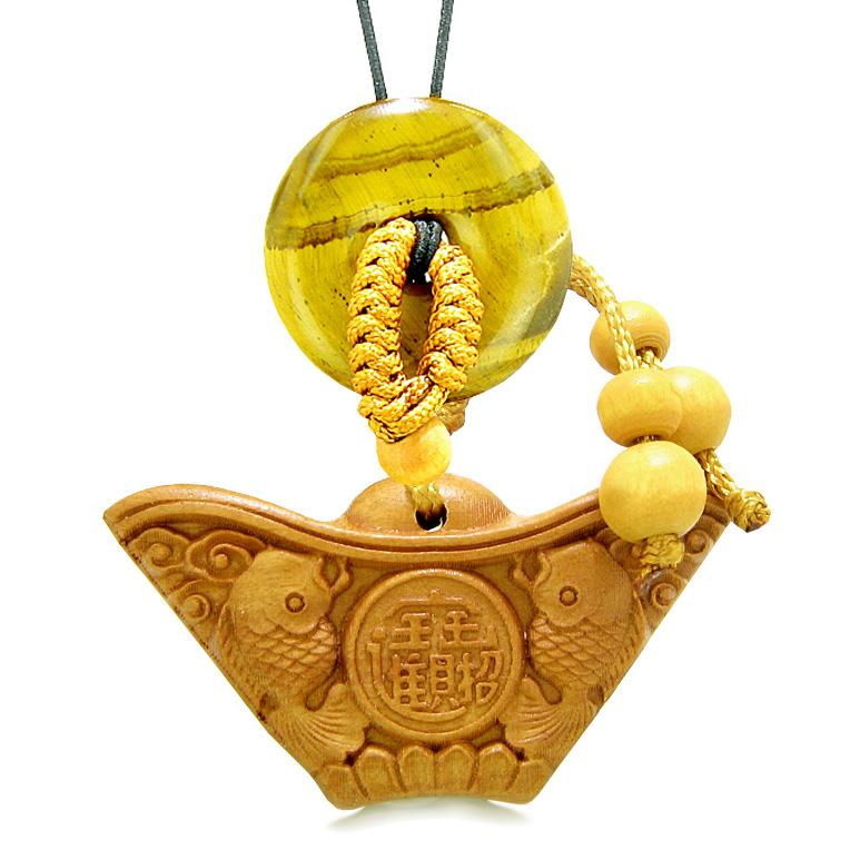 Double Lucky Fish Wulu Coin Car Charm or Home Decor Tiger Eye Donut Protection Powers Magic Amulet