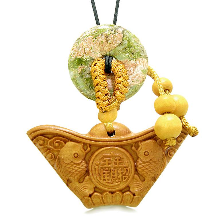 Double Lucky Fish Wulu Coin Car Charm or Home Decor Unakite Donut Protection Powers Magic Amulet
