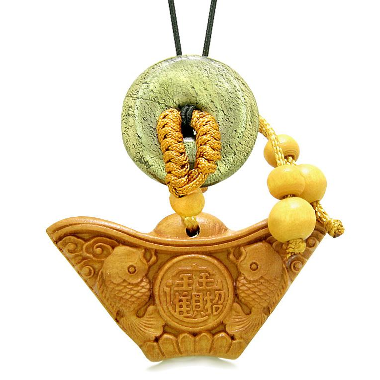 Double Lucky Fish Wulu Coin Car Charm Home Decor Golden Pyrite IrDonut Protect Powers Magic Amulet