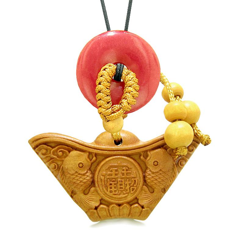 Double Lucky Fish Wulu Coin Car Charm or Home Decor Red Quartz Donut Protection Powers Magic Amulet