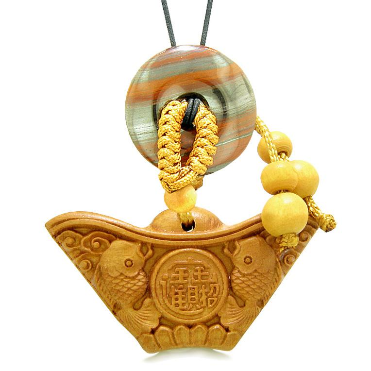 Double Lucky Fish Wulu Coin Car Charm Home Decor Dragon Eye Iron Donut Protection Powers Amulet