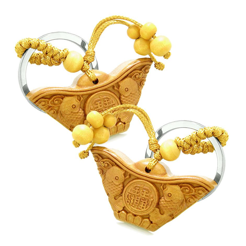 Amulet Double Lucky Fish Wulu Good Luck Powers Coin Charms Feng Shui Keychain Set Blessings