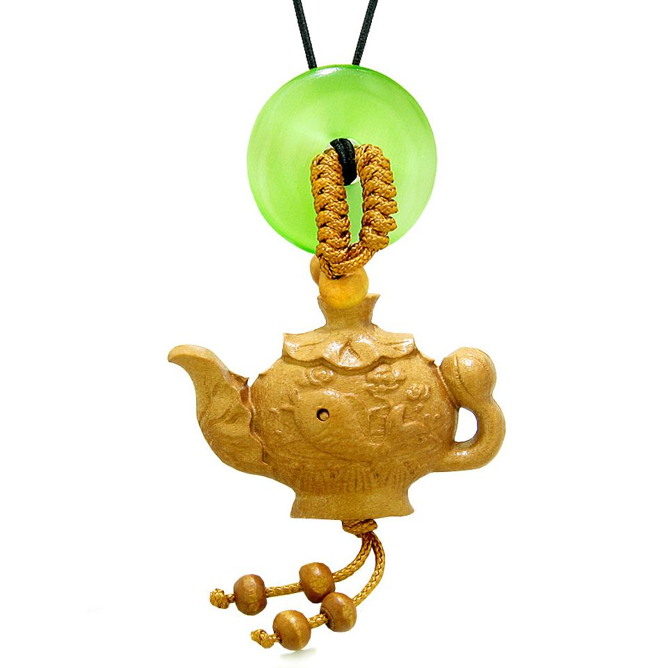 Magic Fish Money Lotus Pot Car Charm or Home Decor Green Simulated Cats Eye Lucky Coin Donut Amulet