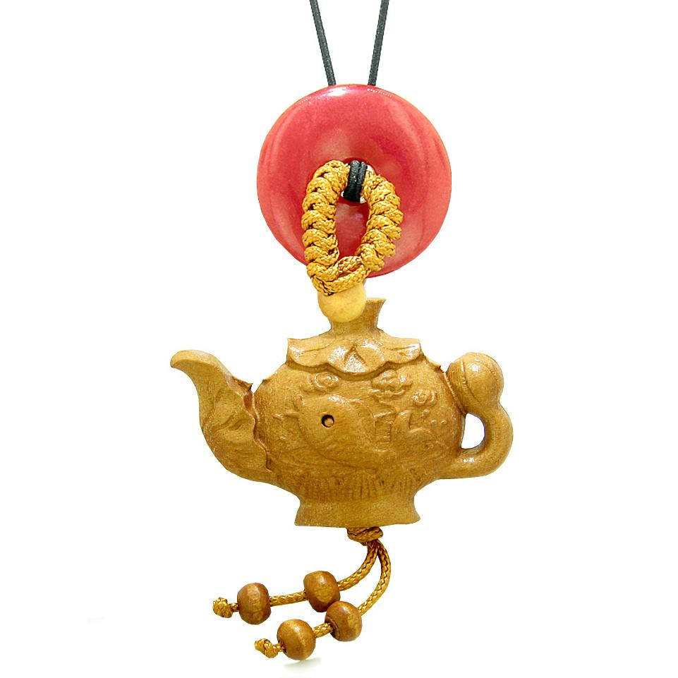Magic Fish Money Lotus Pot Car Charm or Home Decor Red Quartz Lucky Coin Donut Protection Powers Amulet