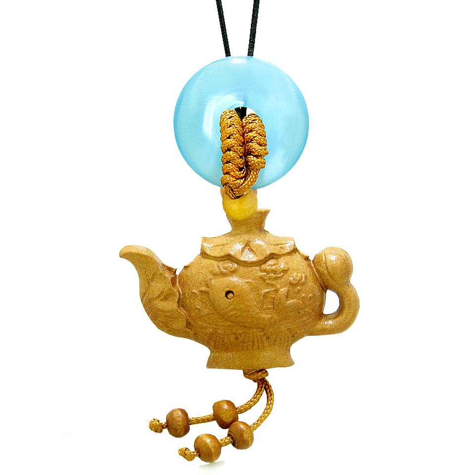 Magic Fish Money Lotus Pot Car Charm or Home Decor Blue Simulated Cats Eye Lucky Coin Donut Amulet