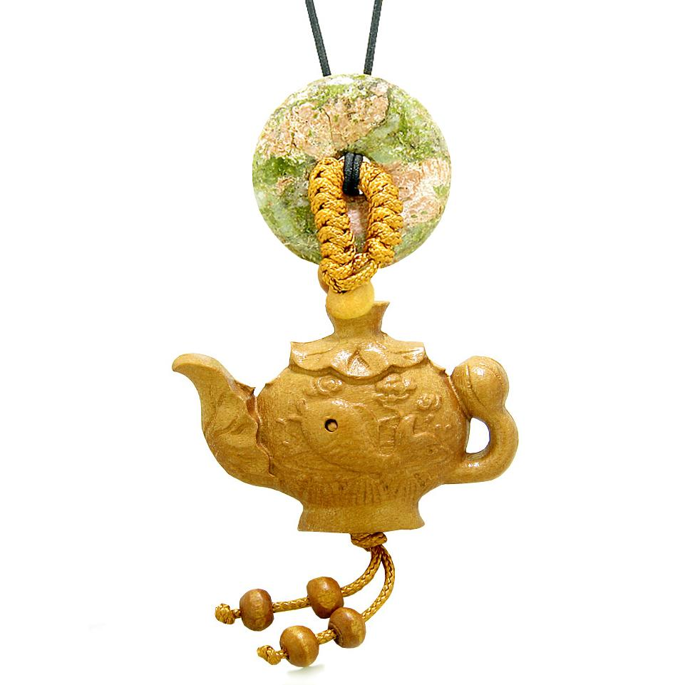 Magic Fish Money Lotus Pot Car Charm or Home Decor Unakite Lucky Coin Donut Protection Powers Amulet