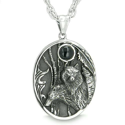 Mother and Son Wolf Family Amulet Moon Positive Wild Woods Energy Onyx Protection Pendant Necklace