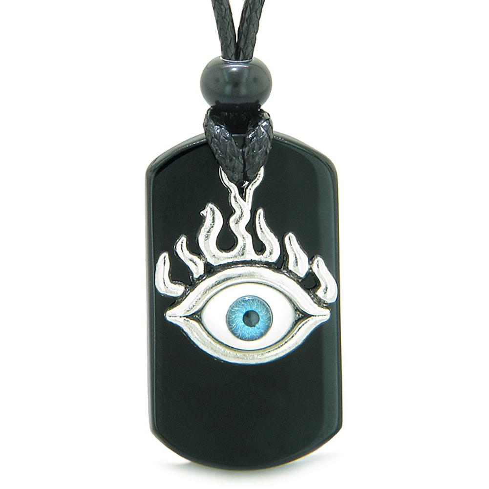 Cool Evil Eye Protection Flames Tag Amulet Black Agate Magic Powers Adjustable Necklace