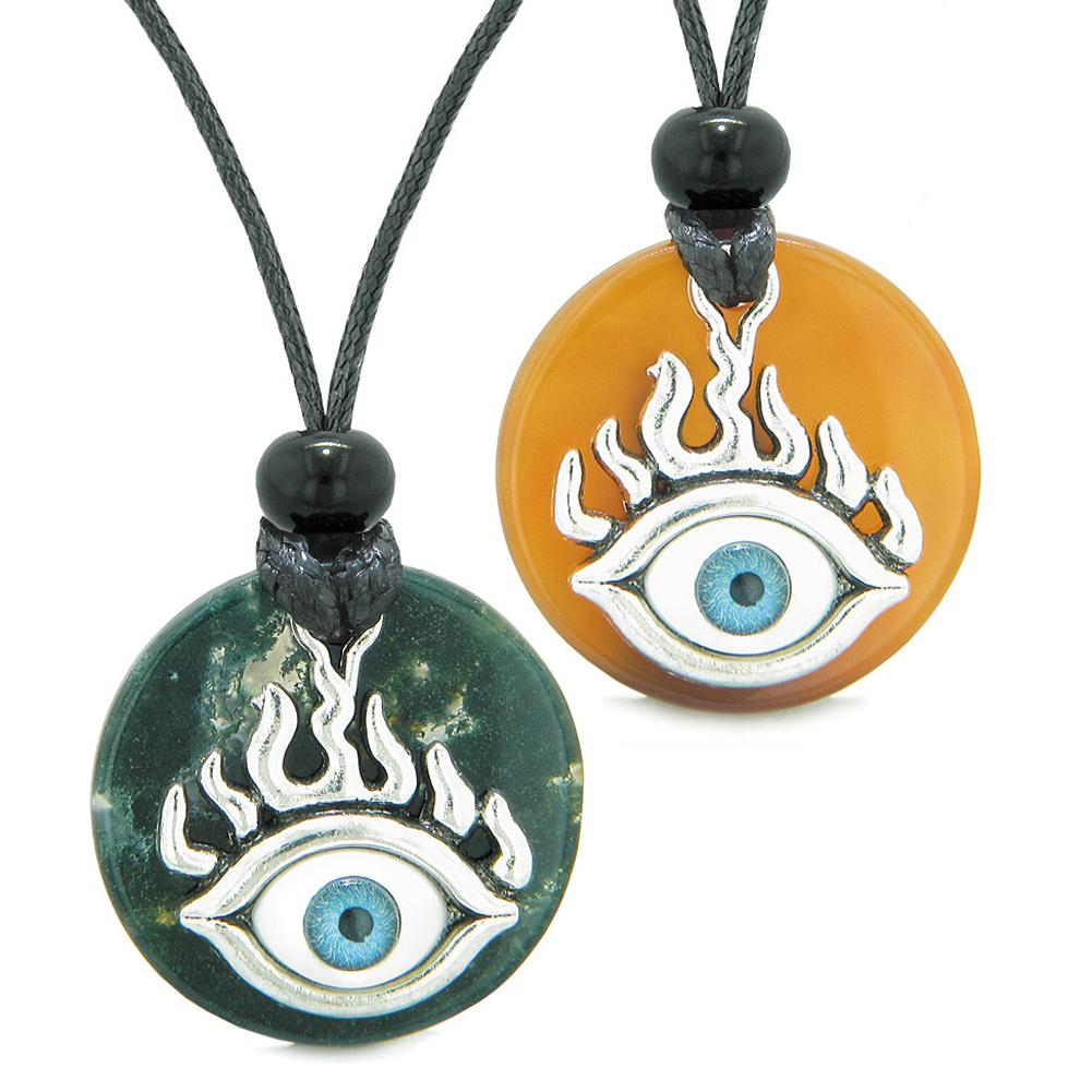 Cool Evil Eye Protection Flames Love Couples or BFF Set Green Agate Carnelian Magic Powers Necklaces