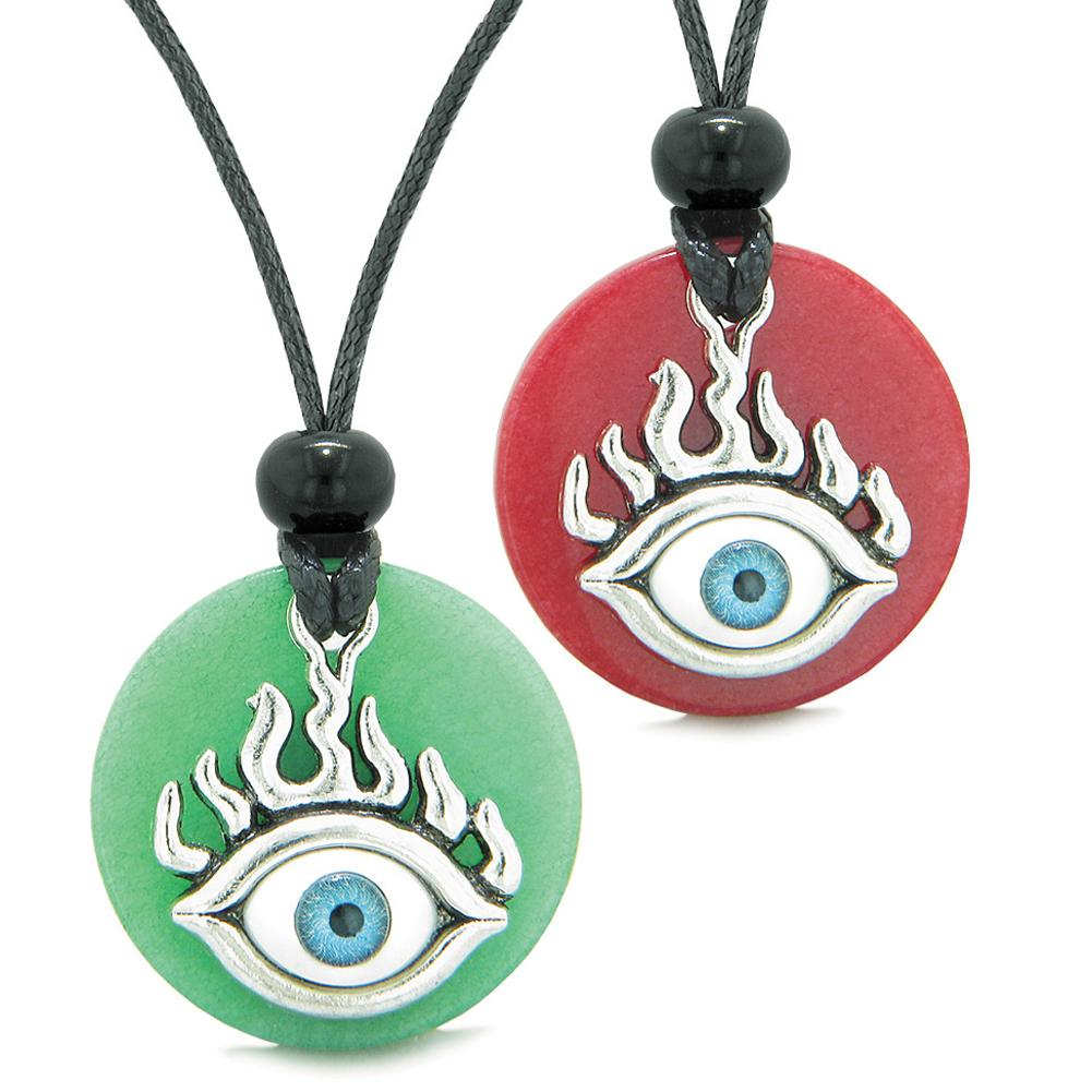 Cool Evil Eye Protection Flames Love Couples or BFF Set Red and Green Quartz Magic Powers Necklaces