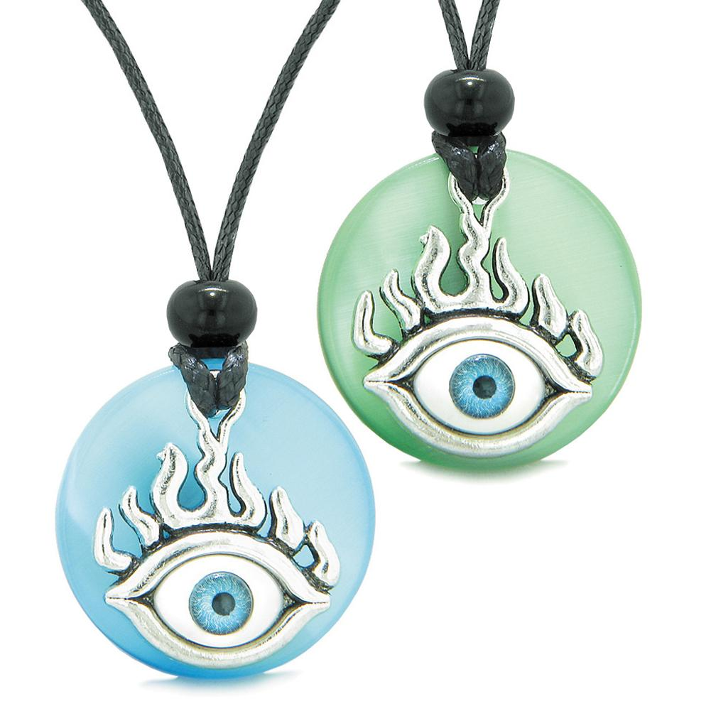 Cool Evil Eye Protection Flames Love Couples or BFF Set Blue Green Simulated Cats Eye Magic Necklaces