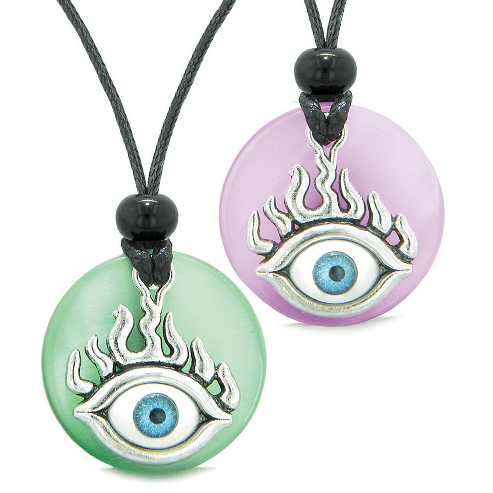 Cool Evil Eye Protection Flames Love Couples or BFF Set Green Pink Simulated Cats Eye Magic Necklaces