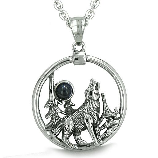 Amulet Medallion Howling Wolf MoForces of Nature Positive Protection Onyx Pendant Necklace