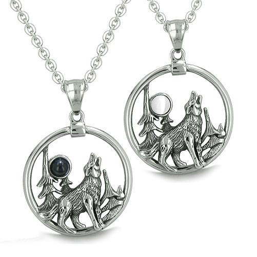 Amulets Love Couples Howling Wolf Moon Forces of Nature Medallions Positive Onyx Cats Eye Necklaces