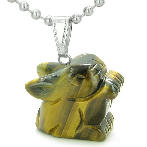 Amulet Lucky Charm Rabbit Totem in Tiger Eye Gemstone Healing Powers Pendant Necklace