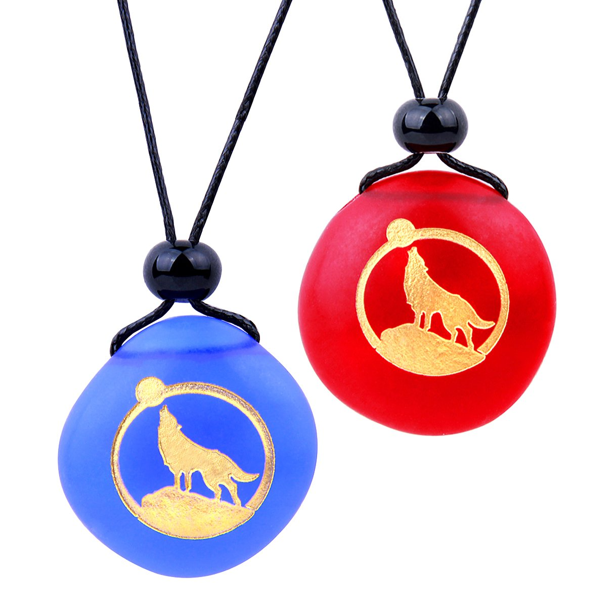 Frosted Sea Glass Stones Howling Wolf Moon Love Couples BFF Set Amulets Royal Blue Red Necklaces