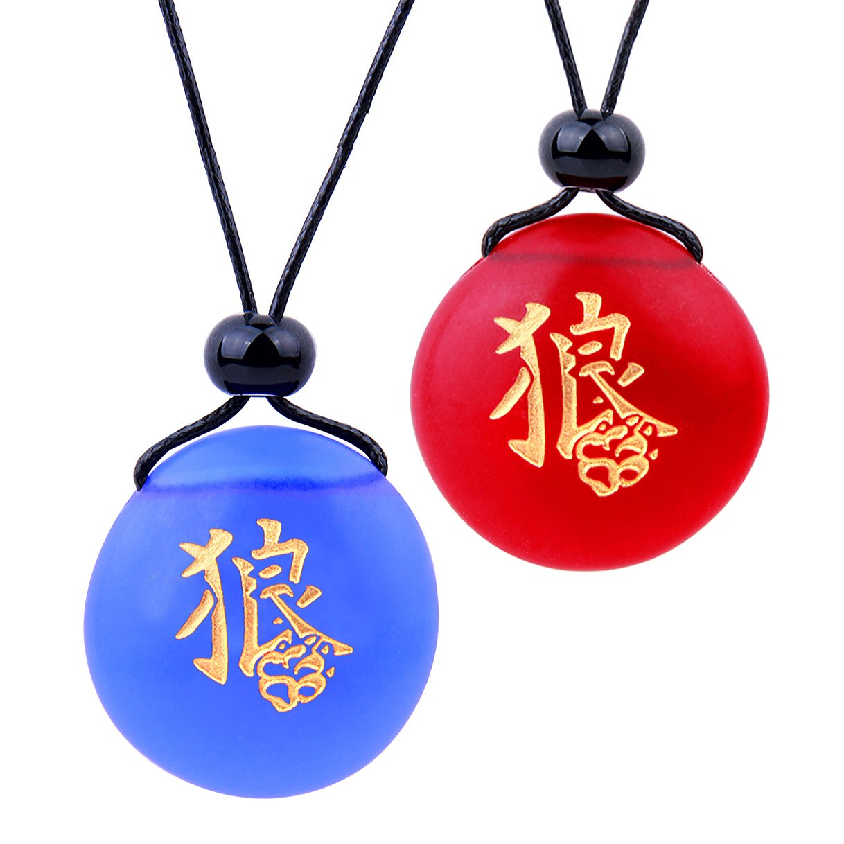 Frosted Sea Glass Stones Kanji Courage Wolf Paw Love Couples BFF Set Amulets Royal Blue Red Necklaces