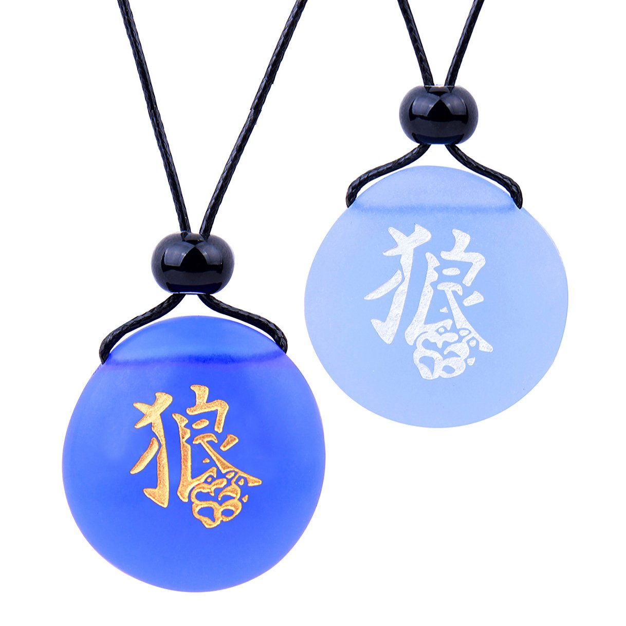 Frosted Sea Glass Stones Kanji Courage Wolf Paw Love Couples BFF Set Amulets Sky Royal Blue Necklaces