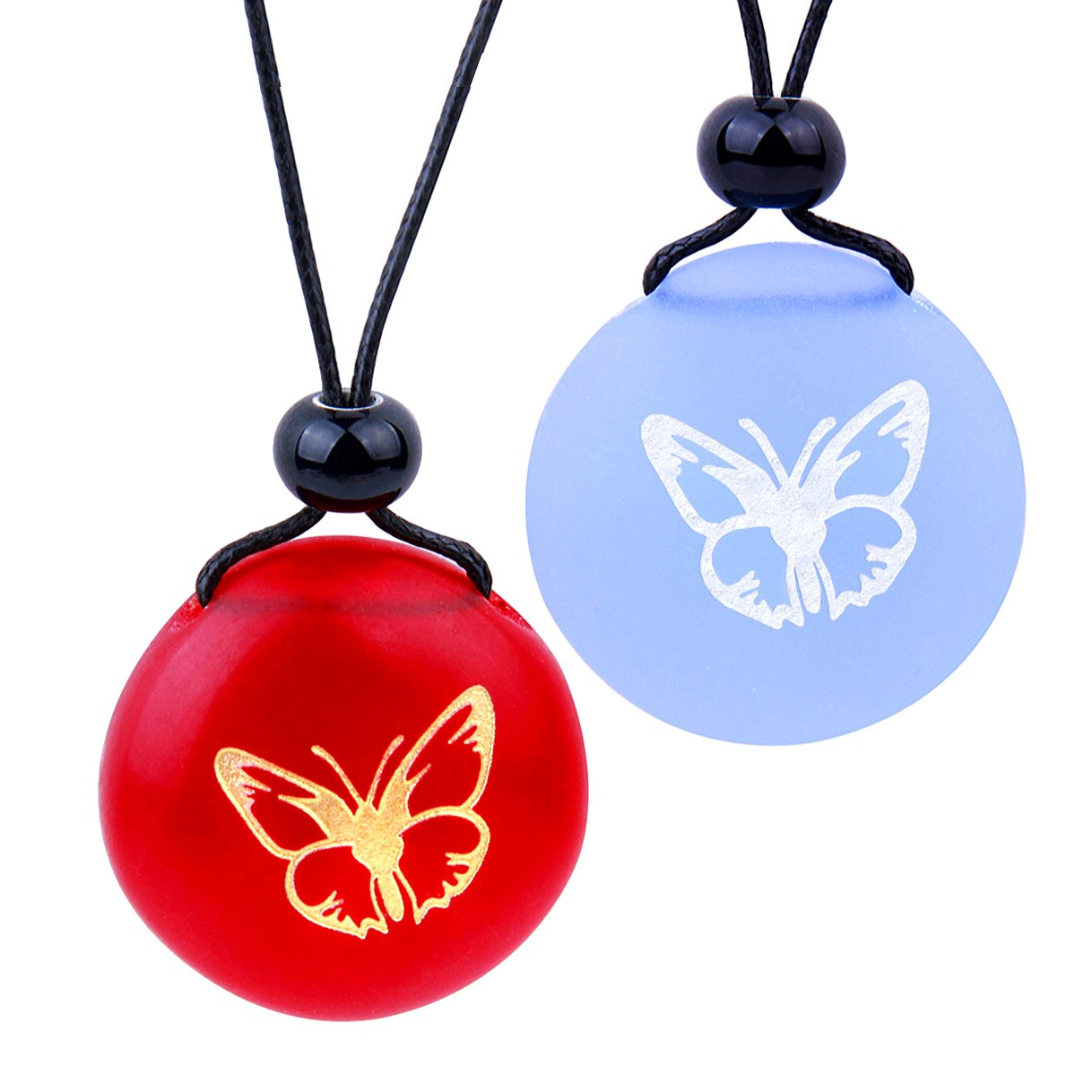 Frosted Sea Glass Stones Adorable Lucky Butterfly Love Couples BFF Set Amulets Sky Blue Red Necklaces