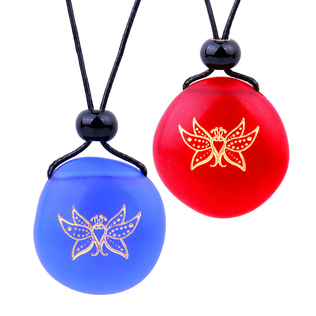Frosted Sea Glass Stones Cute Magic Butterfly Love Couples BFF Set Amulets Royal Blue Red Necklaces