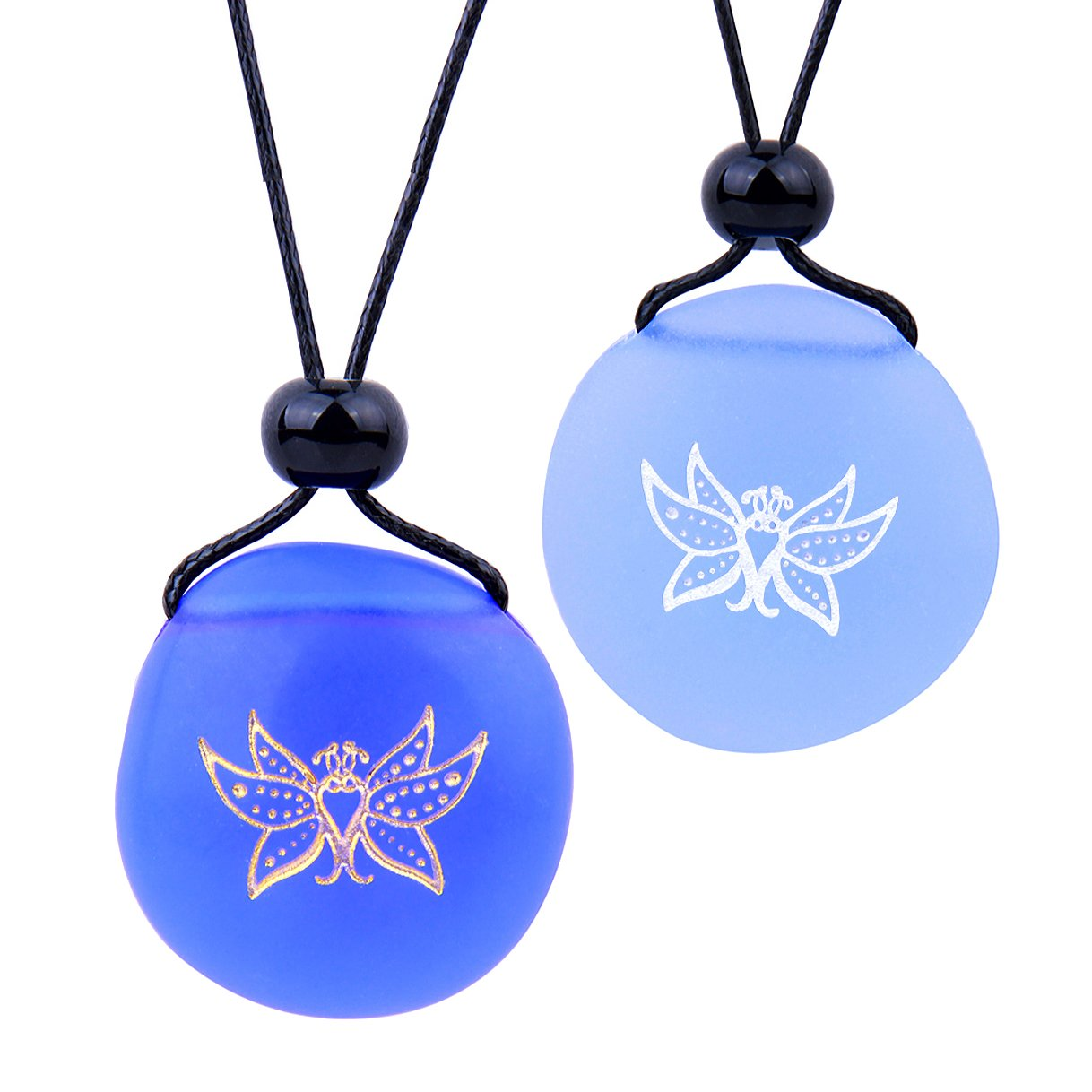 Frosted Sea Glass Stones Cute Magic Butterfly Love Couples BFF Set Amulets Sky Royal Blue Necklaces