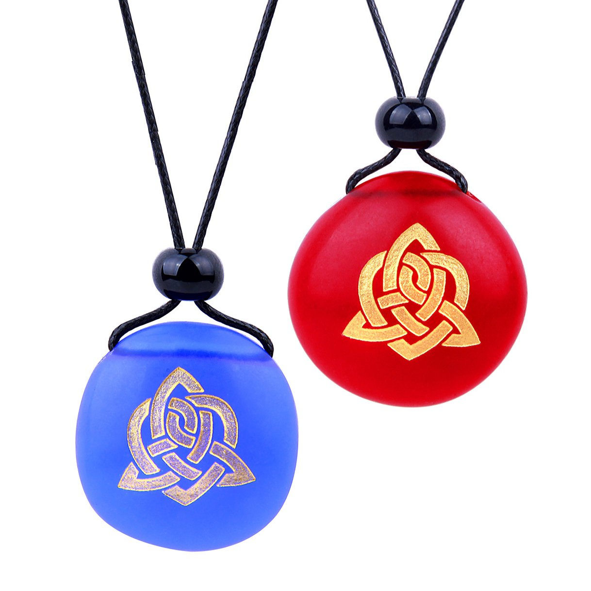 Frosted Sea Glass Stones Magic Celtic Triquetra Knot Love Couples BFF Amulets Royal Blue Red Necklaces