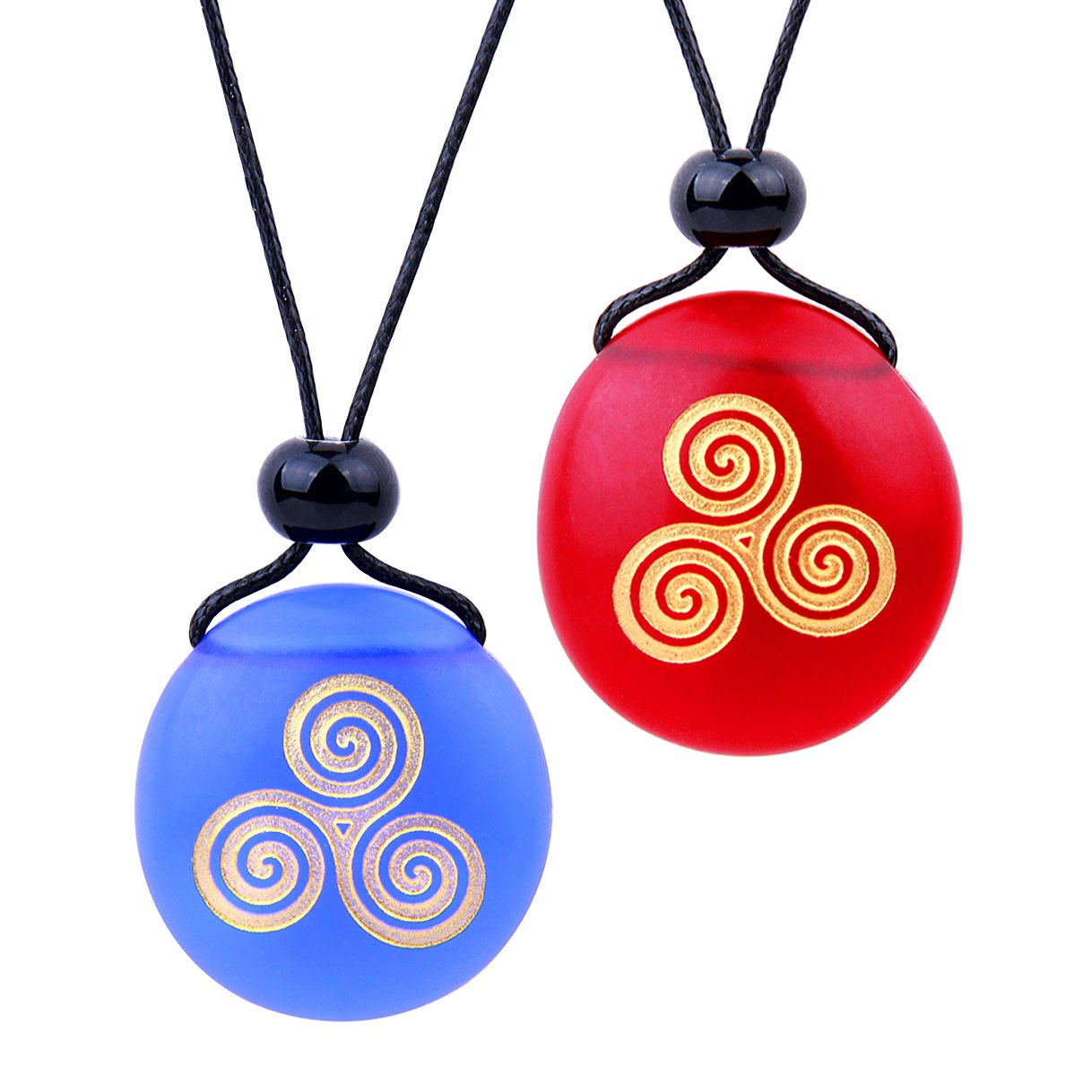 Frosted Sea Glass Stones Spirit of Life Goddess Knot Love Couples BFF Amulets Royal Blue Red Necklaces