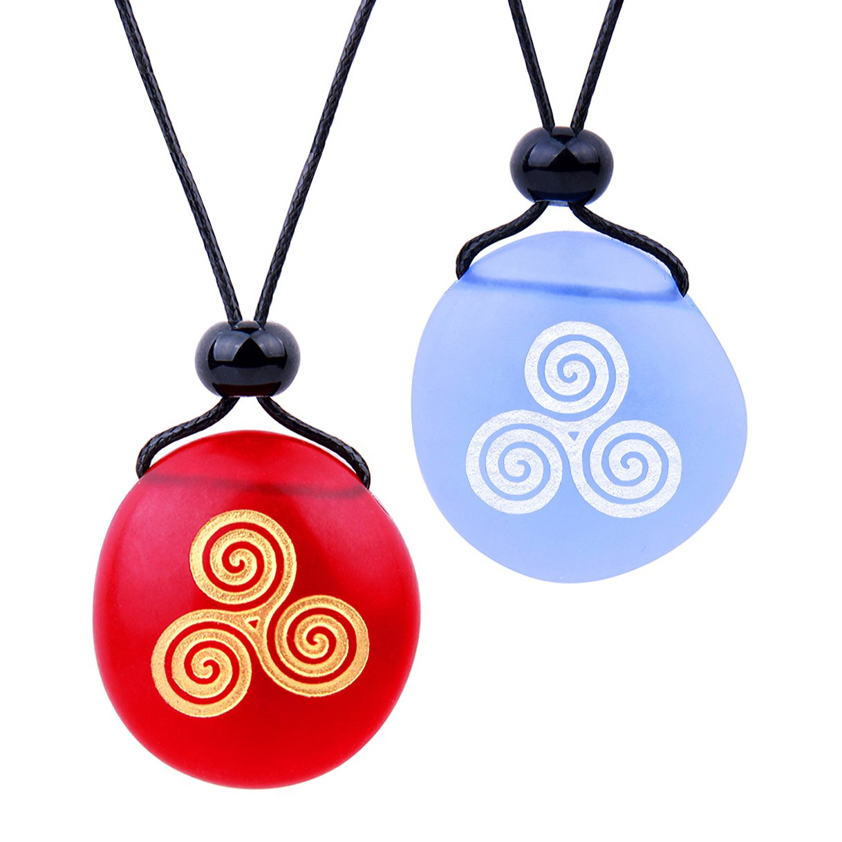 Frosted Sea Glass Stones Spirit of Life Goddess Knot Love Couples BFF Amulets Sky Blue Red Necklaces