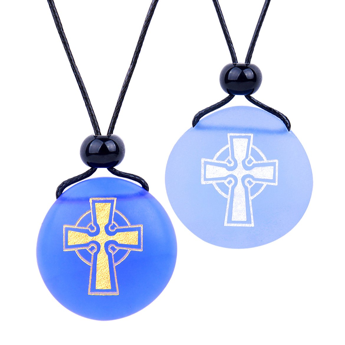 Frosted Sea Glass Stones Ancient Viking Celtic Cross Love Couples BFF Amulets Sky Royal Blue Necklaces
