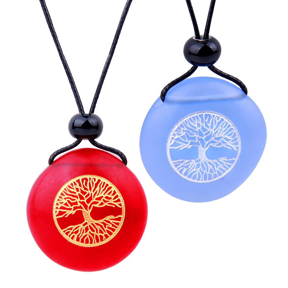 Frosted Sea Glass Stones Celtic Magic Tree of Life Love Couples BFF Set Amulets Sky Blue Red Necklaces