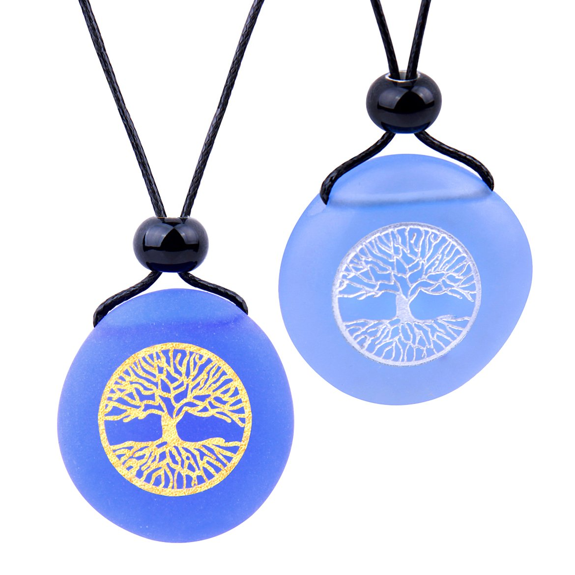 Frosted Sea Glass Stones Celtic Magic Tree of Life Love Couples BFF Set Amulets Sky Royal Blue Necklaces