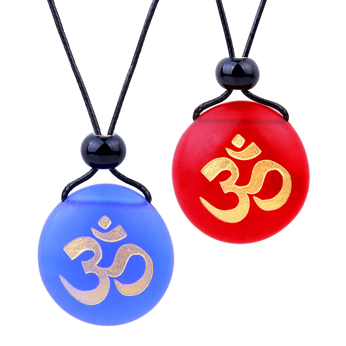 Frosted Sea Glass Stones Ancient Tibetan Om Ohm Love Couples BFF Set Amulets Royal Blue Red Necklaces