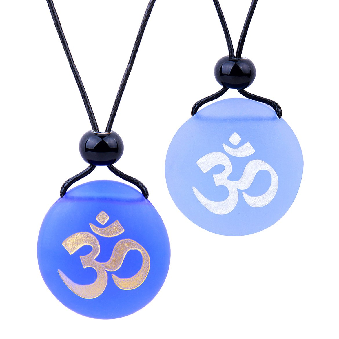 Frosted Sea Glass Stones Ancient Tibetan Om Ohm Love Couples BFF Set Amulets Sky Royal Blue Necklaces