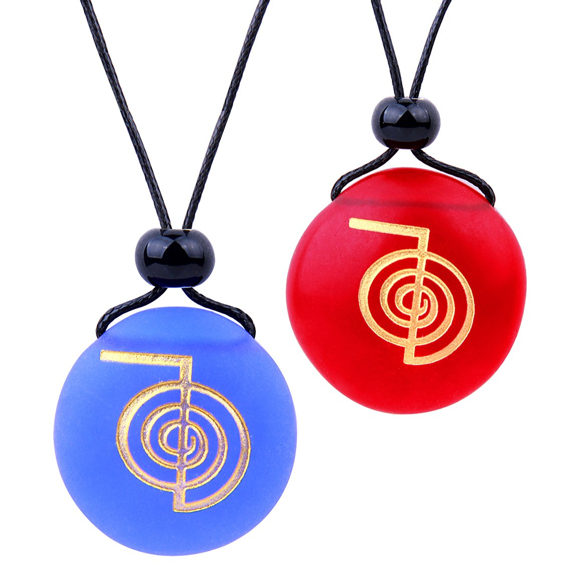 Frosted Sea Glass Stones Choku Rei Reiki Energy Love Couples BFF Set Amulets Royal Blue Red Necklaces