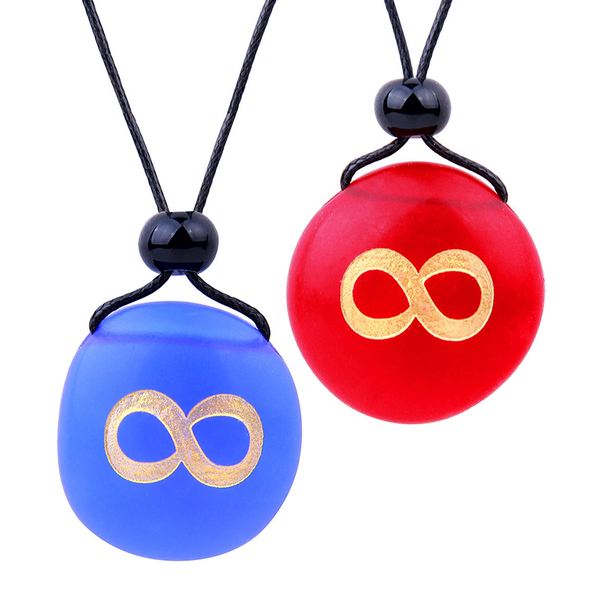 Frosted Sea Glass Stones Infinity Eternity Energy Love Couples BFF Set Amulets Royal Blue Red Necklaces